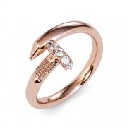 Large Spiral 0.08 Carat Diamond Nail Ring
