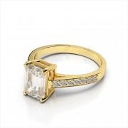 Emerald Cut Gemstone and Diamond Ring