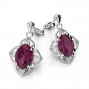 Oval Gemstone & Diamond Drop Earrings