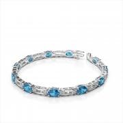Oval 6x4mm Gemstone Diamond Bracelet