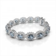 Oval Gemstone and Diamond Bracelet