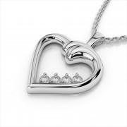 Curved Diamond Heart Pendant