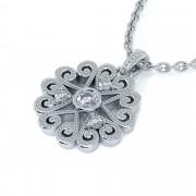 Four Diamond Heart Cluster Pendant