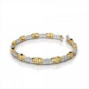 Triple Diamond Bracelet With Fleur de Lis Links