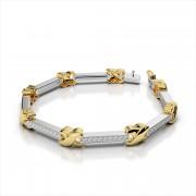 Classic Wavy X and Diamond Bar Bracelet