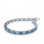 Oval 6x4mm Gemstone and Diamond Bracelet
