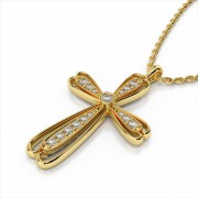 Fancy Milgrain Diamond Cross Pendant