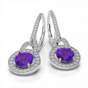 Diamond and Round Gemstone Drop Earrings