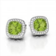 Fancy Cushion Cut Gemstone & Diamond Earrings