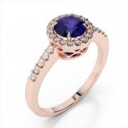 Round 4mm Gemstone and Diamond Ring