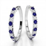 Prong Set Diamond & Gemstone Hoop Earrings