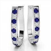 Oval Hoop Diamond & Gemstone Earrings