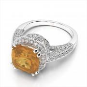 Cushion Cut Gemstone and Diamond Ring