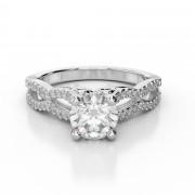 Twisted Diamond Split Shank Engagement Ring