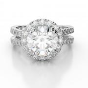 Halo Engagement Ring With Multi-Level Split Shank