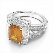 Emerald Cut Gemstone Ring with Pave Diamonds