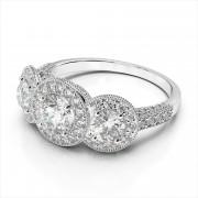 Three Stone Bezel Diamond Engagement Ring