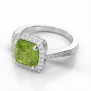 8mm Cushion Gemstone & Diamond Halo Ring
