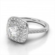 Square Double Halo Gemstone Ring
