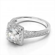 Diamond Square Halo Millgrain Engagement