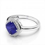 Gemstone & Diamond Halo Cushion Ring