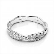 Crisscross Diamond Bypass Wedding Band