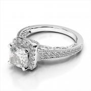 Vintage Cushion Halo Engagement Ring