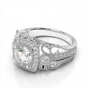 Art Deco Diamond Engagement Ring Square Halo