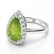 Pear Shape Gemstone Halo Ring