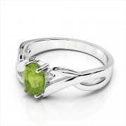 Gemstone and Diamond Bypass Ring
