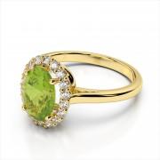 Classic Diamond Halo & Gemstone Ring