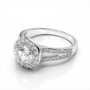 Round Diamond Halo & Split Shank Engagement Ring
