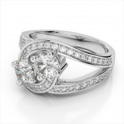 Two Diamond 0.98ctw. Platinum Bypass Ring