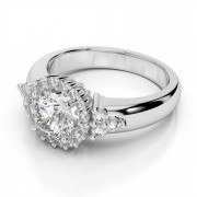 Halo and Three Stone Diamond Engagement Ring