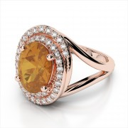 Oval 9x7mm Gemstone with Double Halo Ring