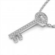 Round Diamond Key Pendant