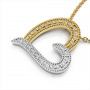 Sideways Diamond Heart Pendant