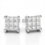 Invisible Set Princess Cut Diamond Studs