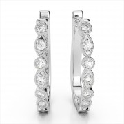 Milgrain Diamond Hoop Earrings