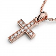 Small Prong Set Diamond Cross