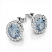 7x5mm Oval Gemstone Halo Earrings