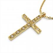 Detailed Diamond Cross Pendant
