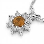 Diamond & 4mm Round Gemstone Pendant