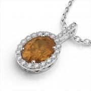 Oval 8x6mm Gemstone and Diamond Pendant