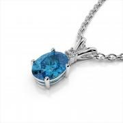Diamond and Oval Gemstone Pendant