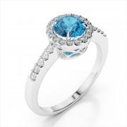 Round 5mm Gemstone and Diamond Ring