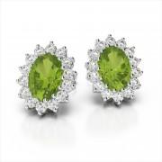 Classic Oval 6x4mm Gemstone and Diamond Earrings
