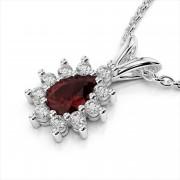 Diamond & Pear Shaped Gemstone Pendant