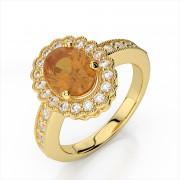 Oval 10x8mm Gemstone and Diamond Ring