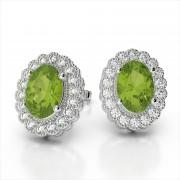 Oval Gemstone Earrings with Diamond Halo